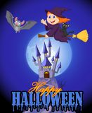 Halloween background with little witch and bat flying over castle Royalty Free Stock Images