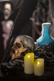 Halloween background with a lot of different witchcraft tools: s. Still Life of skull  and candle in dim light night Royalty Free Stock Image