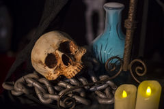 Halloween background with a lot of different witchcraft tools: s. Still Life of skull  and candle in dim light night Stock Image