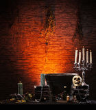 Halloween background with a lot of elements Stock Image