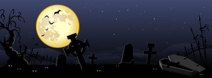 Halloween Background. Midnight sky at the creepy and misty cemetery Royalty Free Stock Photo