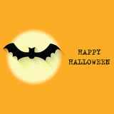 Halloween   background with moon and bat Stock Photography