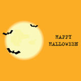 Halloween   background with moon and bats. Royalty Free Stock Images