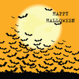Halloween  background with moon and bats. Stock Photos