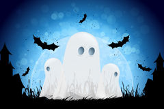 Halloween Background with Moon and Ghosts Royalty Free Stock Photo