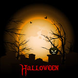 Halloween background with moon graveyard and text Stock Photo