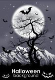 Halloween background with Moon and lifeless tree. Royalty Free Stock Images