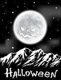 Halloween background with Moon over mountains Stock Photography