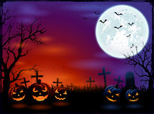 Halloween background with Moon and pumpkins Royalty Free Stock Photography