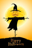 Halloween Background with Moon and Scarecrow Stock Photos