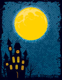 Halloween Background. A halloween background with a moon and a scary mansion Royalty Free Stock Images