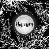 Halloween background with moon and tree branches. Invitation to party or greeting card Stock Photo