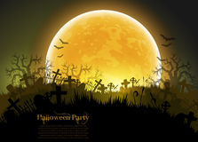 Halloween background. Halloween night background with big moon, this illustration may be useful as designer work Stock Photos