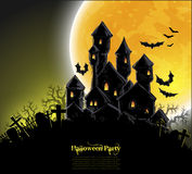 Halloween background. Halloween night background with castle, this illustration may be useful as designer work Royalty Free Stock Photos