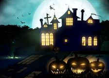 Halloween background. Poster template. Royalty Free Stock Photo