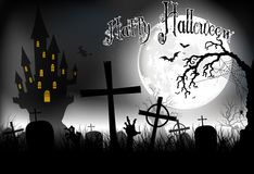 Halloween background night with in graveyard and scary house on the full moon Stock Image
