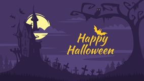 Halloween background with old castle. Vector cartoon style Happy Halloween background with old castle and a graveyard. Spooky background stock illustration