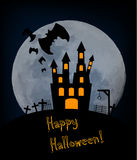 Halloween background with old castle Royalty Free Stock Image