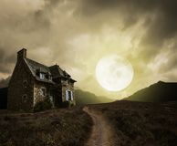 Halloween background with old house Royalty Free Stock Image