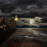 Halloween background with old towers Royalty Free Stock Image