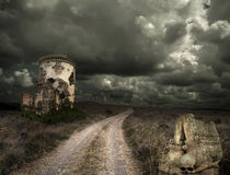 Halloween background with old towers Stock Image