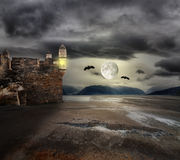 Halloween background with old towers Royalty Free Stock Photo