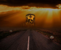 Halloween background with old towers and skulls Royalty Free Stock Photo