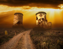 Halloween background with old towers and skulls Royalty Free Stock Photos