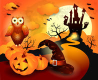 Halloween background in orange. Illustration Stock Photo