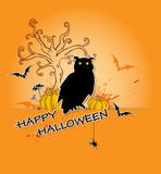 Halloween background with owl and tree Stock Photo