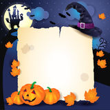 Halloween background with parchment, hat and pumpkins Stock Photos