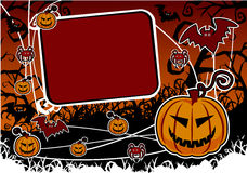 Halloween background with pumpkin. And bat Stock Photography