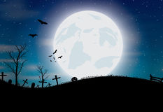 Halloween background with pumpkin, bats and big moon Stock Images