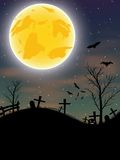 Halloween background with pumpkin, bats and moon Royalty Free Stock Image