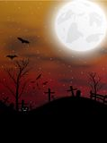 Halloween background with pumpkin, bats and moon Stock Photo