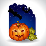 Halloween background with pumpkin and bats Royalty Free Stock Photos