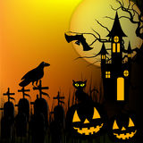 Halloween background with pumpkin, black cat and haunted house for Halloween party. Vector illustration Stock Photos