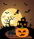 Halloween background with Pumpkin Stock Photo