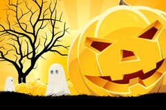 Halloween Background with Pumpkin and Ghost Stock Photography