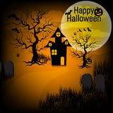Halloween background with pumpkin, haunted house and full moon. for Halloween party. Vector illustration Stock Photography