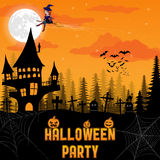 Halloween background with pumpkin, haunted house and full moon. Vector illustration Halloween background with pumpkin, haunted house and full moon Stock Photos