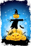 Halloween Background with Pumpkin and Scarecrow Royalty Free Stock Image