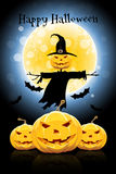 Halloween Background with Pumpkin and Scarecrow Stock Photos