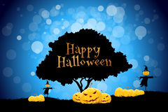 Halloween Background with Pumpkin and Scarecrow Stock Image