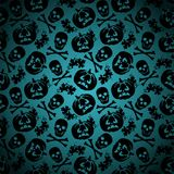 Halloween background with pumpkin and skeleton Stock Photos