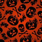 Halloween background with pumpkin and skeleton Royalty Free Stock Images