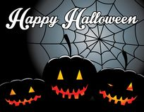 Halloween background with pumpkin and spider web Royalty Free Stock Photos