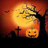 Halloween background with pumpkin and spooky tree. Halloween background with pumpkin in spooky landscape Stock Illustration