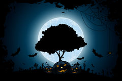 Halloween Background with Pumpkin and Tree Stock Photos
