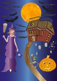Halloween background with pumpkin and witch Stock Photos